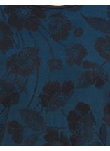 Anna Rose Floral Jacquard Shimmer Short Sleeve Top Blue/Black - Gallery Image 4