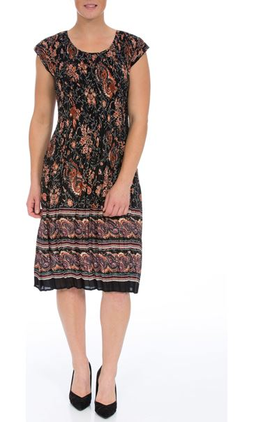 Short Sleeve Printed Pleat Midi Dress Black/Rust