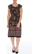 Short Sleeve Printed Pleat Midi Dress Black/Rust - Gallery Image 1