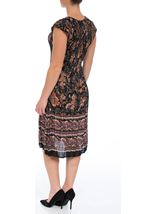Short Sleeve Printed Pleat Midi Dress Black/Rust - Gallery Image 2