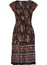 Short Sleeve Printed Pleat Midi Dress Black/Rust - Gallery Image 3