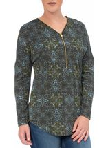 Printed Brushed Knit Long Sleeve Tunic Taupe/Sky Blue - Gallery Image 1