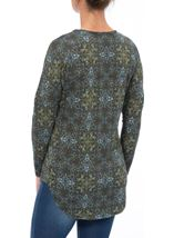 Printed Brushed Knit Long Sleeve Tunic Taupe/Sky Blue - Gallery Image 2