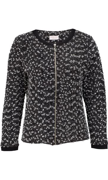 Anna Rose Textured Zip Jacket Black/Grey