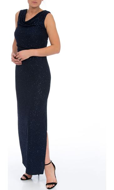 Cowl Neck Sparkle Maxi Dress Midnight