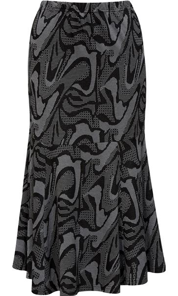 Fit And Flare Jersey Patterned Midi Skirt Black/Grey