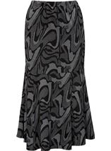Fit And Flare Jersey Patterned Midi Skirt Black/Grey - Gallery Image 1