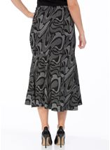 Fit And Flare Jersey Patterned Midi Skirt Black/Grey - Gallery Image 3