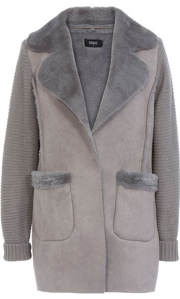 Knit And Shearling Coatigan Grey