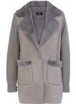 Knit And Shearling Coatigan Grey - Gallery Image 1