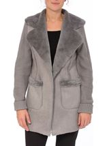 Knit And Shearling Coatigan Grey - Gallery Image 2