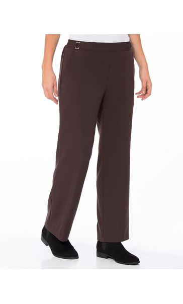Anna Rose Straight Leg Trousers 27 Inch Brown