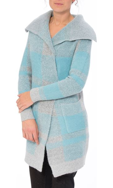 Long Sleeve Check Knit Cardigan Grey/Blue