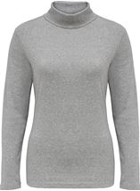 Long Sleeve Turtle Neck Jersey Top Grey Melange - Gallery Image 1