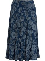 Anna Rose Floral Print Panelled Skirt Navy Floral - Gallery Image 1