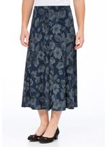 Anna Rose Floral Print Panelled Skirt Navy Floral - Gallery Image 2