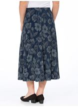 Anna Rose Floral Print Panelled Skirt Navy Floral - Gallery Image 3