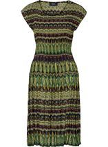Short Sleeve Printed Pleat Midi Dress Navy/Lime - Gallery Image 1