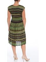 Short Sleeve Printed Pleat Midi Dress Navy/Lime - Gallery Image 3