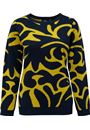 Abstract Splatter Print Jumper Navy/Lime - Gallery Image 1
