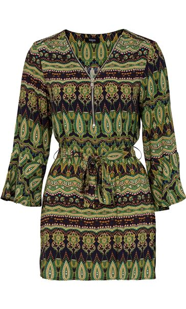 Printed Three Quarter Length Sleeve Tunic Lime/Navy
