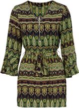 Printed Three Quarter Length Sleeve Tunic Lime/Navy - Gallery Image 1