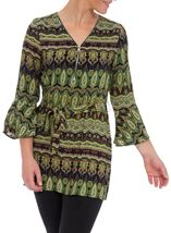 Printed Three Quarter Length Sleeve Tunic Lime/Navy - Gallery Image 2