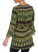 Printed Three Quarter Length Sleeve Tunic Lime/Navy - Gallery Image 3