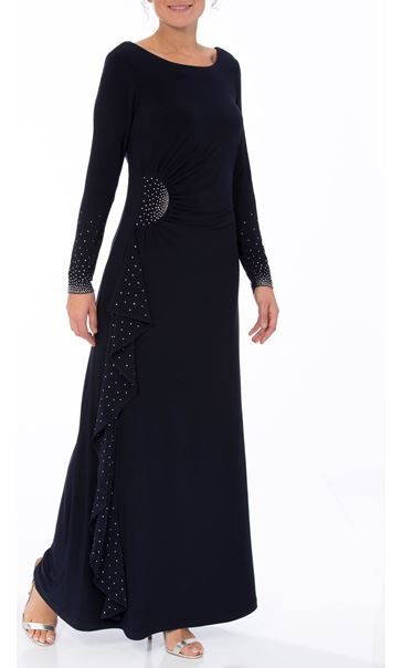 Embellished Long Sleeve Maxi Dress Midnight