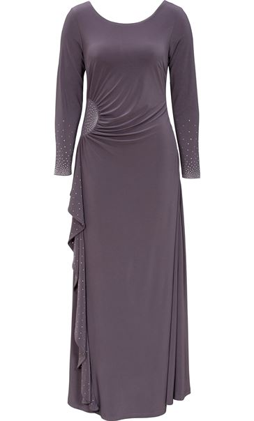 Embellished Long Sleeve Maxi Dress Grey