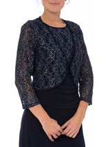 Floral Metallic Thread Lace Cover Up Midnight - Gallery Image 2