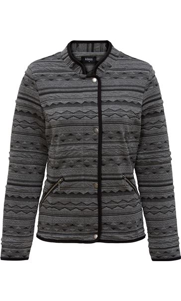 Textured Unlined Jacket Black/Grey - Gallery Image 3