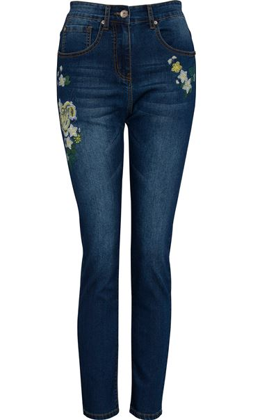 Embroidered Relaxed Skinny Jean Dark Denim