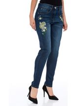 Embroidered Relaxed Skinny Jean Dark Denim - Gallery Image 2
