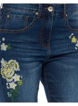 Embroidered Relaxed Skinny Jean Dark Denim - Gallery Image 4