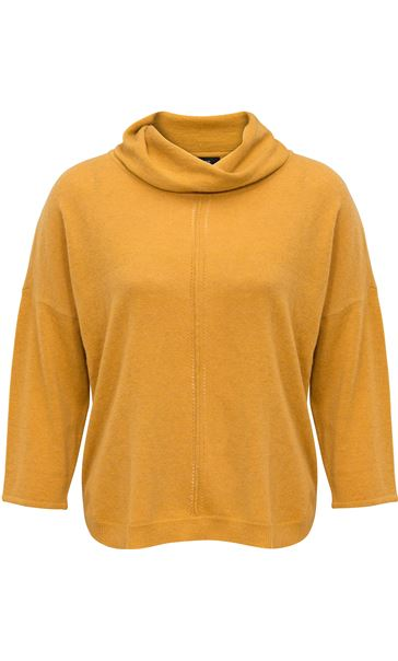 Dip Hem Cowl Neck Knit Top Mustard
