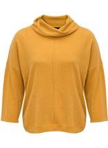 Dip Hem Cowl Neck Knit Top Mustard - Gallery Image 1