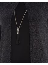 Anna Rose Two Piece Sparkle Set With Necklace Silver/Black - Gallery Image 3