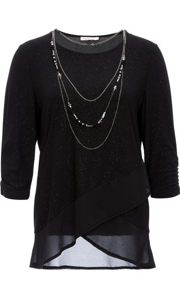 Anna Rose Glitter Asymmetric Top with Necklace Black