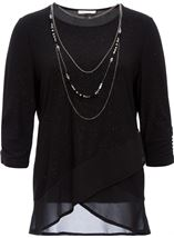 Anna Rose Glitter Asymmetric Top with Necklace Black - Gallery Image 1