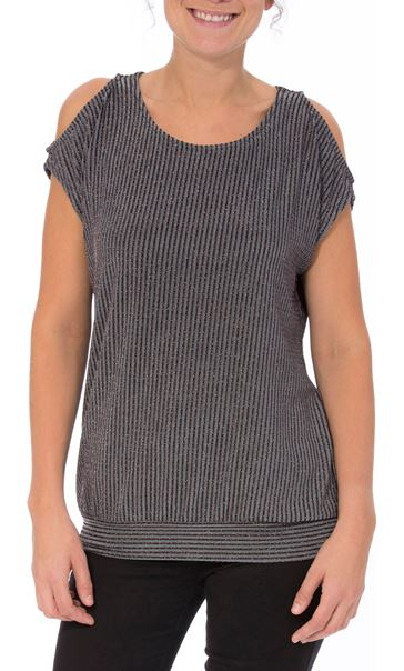 Glittering Cold Shoulder Stripe top Grey Multi