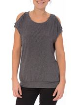 Glittering Cold Shoulder Stripe top Grey Multi - Gallery Image 1