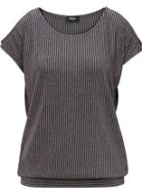 Glittering Cold Shoulder Stripe top Grey Multi - Gallery Image 2