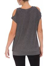 Glittering Cold Shoulder Stripe top Grey Multi - Gallery Image 3