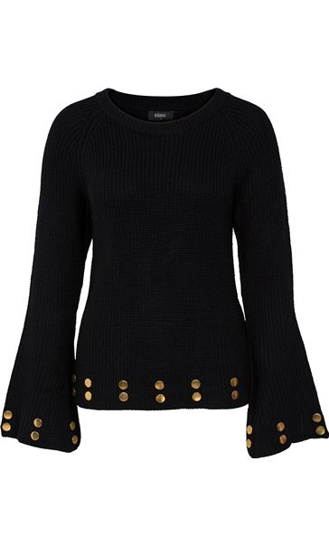 Long Bell Sleeve Knit Top Black