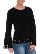 Long Bell Sleeve Knit Top Black - Gallery Image 2
