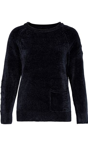 Long Sleeve Chenille Top Navy