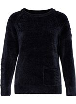 Long Sleeve Chenille Top Navy - Gallery Image 1