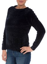 Long Sleeve Chenille Top Navy - Gallery Image 2