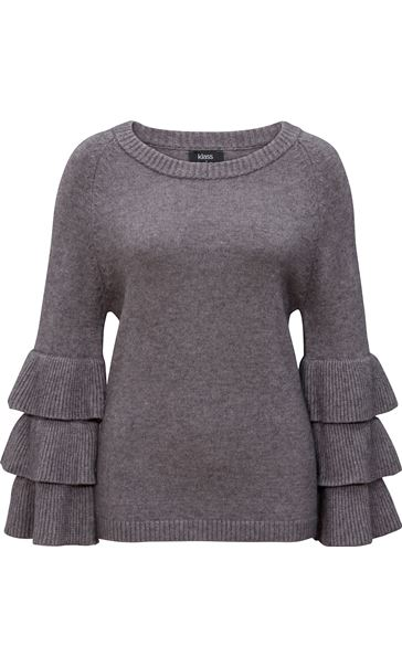 Tiered Long Sleeve Knit Top Grey Marl